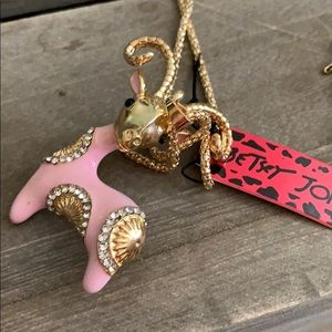 """New Betsy Johnson Pink Pretty Ram Necklace 2"""""""